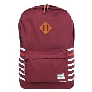 Herschel Sac à dos Heritage Offset windsor wine offset stripe/veggie tan leather vente
