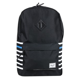 Herschel Sac à dos Heritage Offset black offset stripe/black veggie tan leather vente