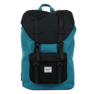 Herschel Sac à dos Little America Mid Volume ocean depths grid/black/black rubber vente