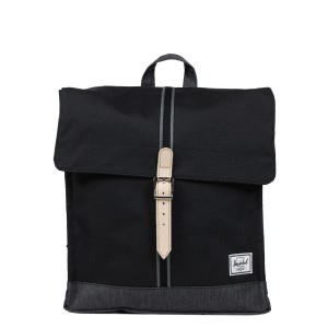 Herschel Sac à dos City Mid-Volume Offset black/black denim vente