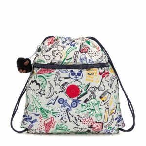 [Black Friday 2019] Kipling Grand Sac à Cordon Doodle Play Bl pas cher