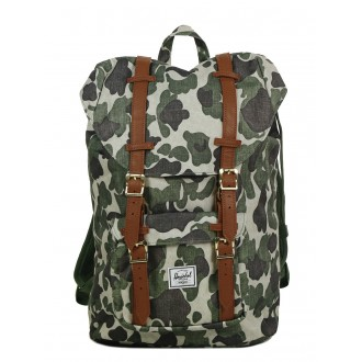 Vacances Noel 2019 | Herschel Sac à dos Little America Mid Volume frog camo/tan synthetic leather vente