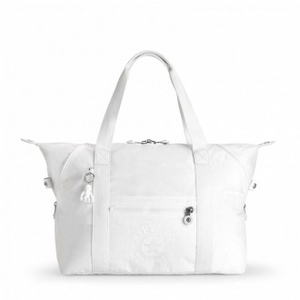 Black Friday 2020 | Kipling Sac Cabas Medium avec 2 Poches Frontales Lively White pas cher