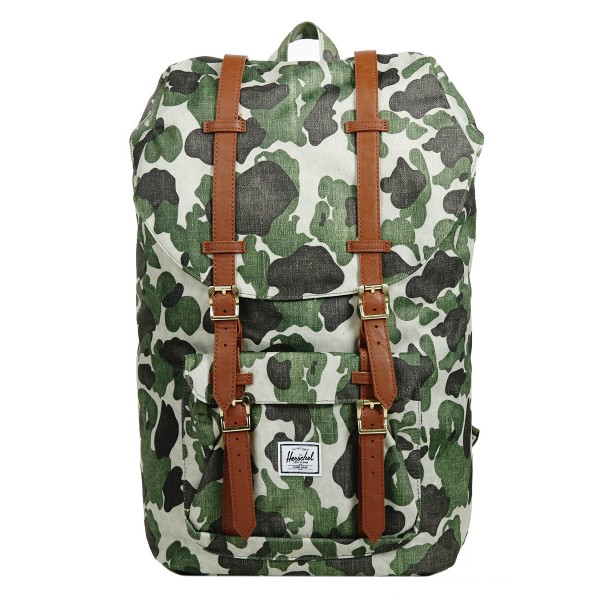 Vacances Noel 2019 | Herschel Sac à dos Little America frog camo/tan synthetic leather vente