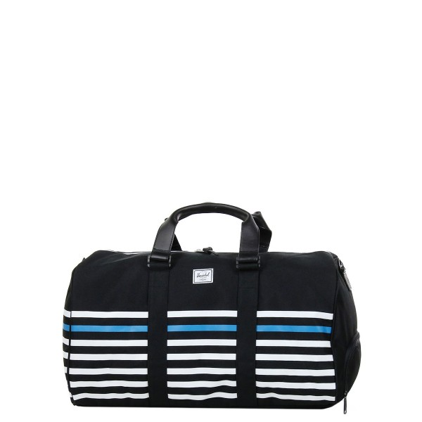 Herschel Sac de voyage Novel Offset 52 cm black offset stripe/black veggie tan leather vente