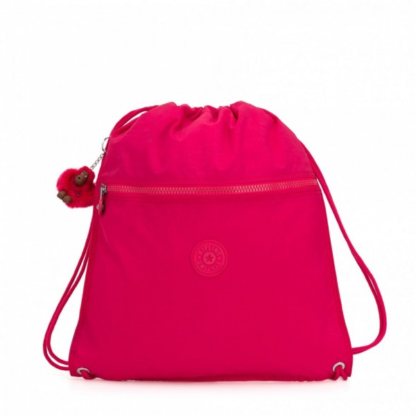 Kipling Grand Sac à Cordon True Pink pas cher
